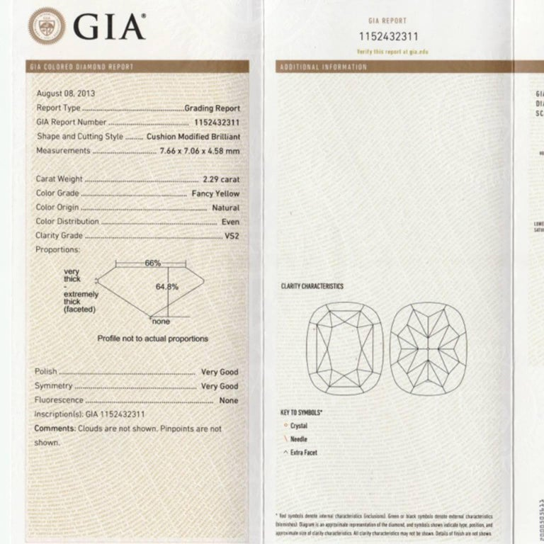 GIA Certified 2.04 and 2.29 Carat Fancy Yellow Cushion-Cut Diamond Earrings In New Condition For Sale In Central, HK