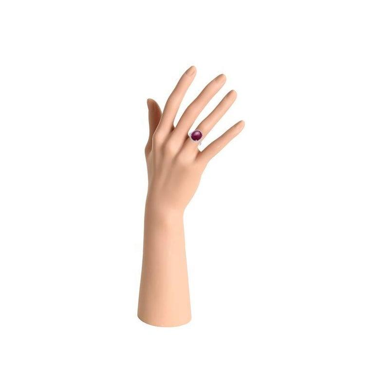 1 Ruby - 10.50 carat 54 Diamond - 0.36 carat  18K White Gold Ring size: US6
