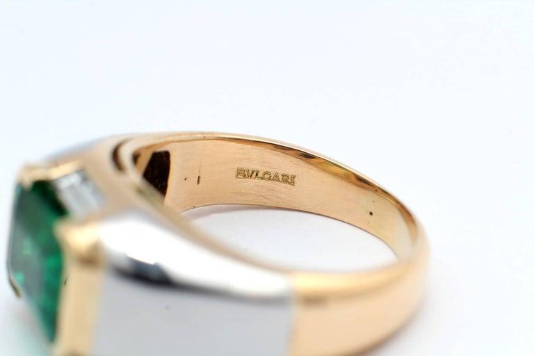 Women's Bulgari, Emerald Diamond Gold Engagement Ring For Sale