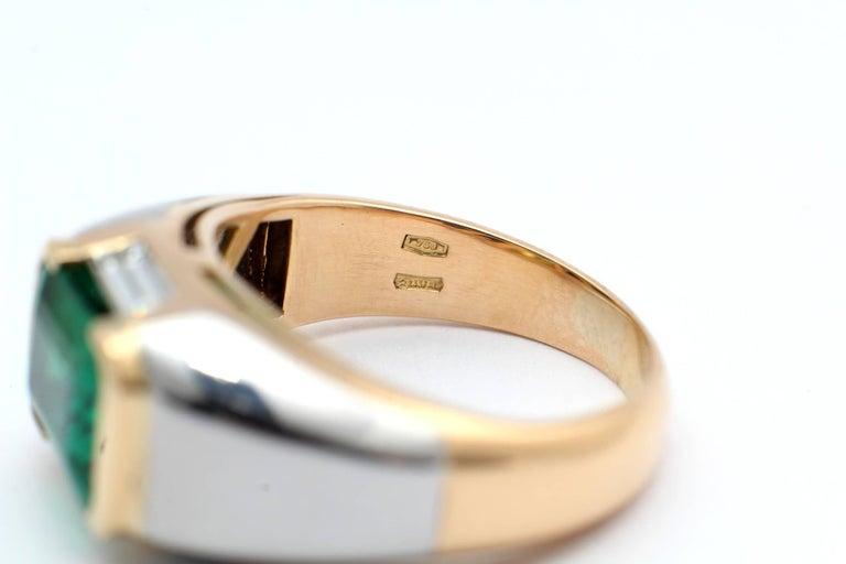 Bulgari, Emerald Diamond Gold Engagement Ring For Sale 1