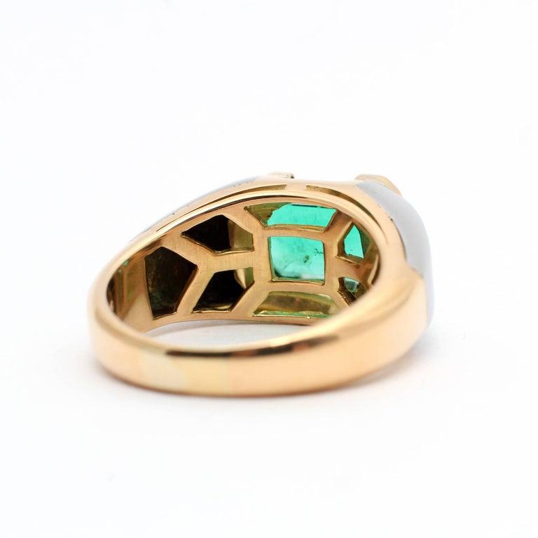 Bulgari, Emerald Diamond Gold Engagement Ring For Sale 2