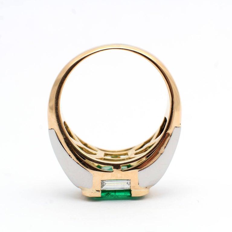 Bulgari, Emerald Diamond Gold Engagement Ring For Sale 3