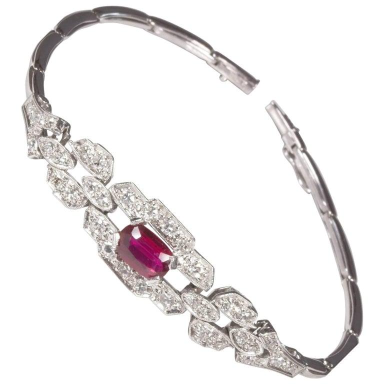 White Gold Ruby Diamond Bracelet