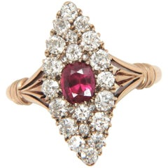 18 Carat Gold Antique Ruby and Diamond Navette Marquise Ring