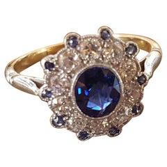18 Carat Gold Art Deco Sapphire Diamond Cluster Engagement Ring