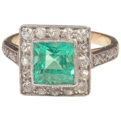 Art Deco Emerald Diamond Cluster Ring, circa 1920