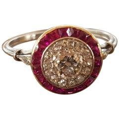 Platinum Art Deco Ruby and Diamond Engagement Ring