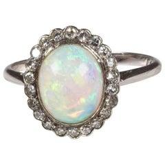 Edwardian Opal Diamond Cluster Platinum Ring