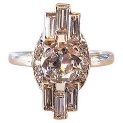 Platinum Art Deco Diamond Empire State Chrysler Architectural Engagement Ring