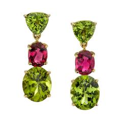 Peridot Pink Tourmaline yellow gold Earrings