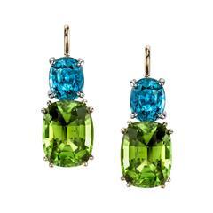 Peridot and Blue Zircon Earrings