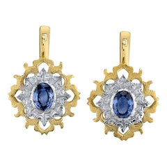 2.16 Carat Blue Sapphire Lever-Back 18k Yellow and White Gold Earrings