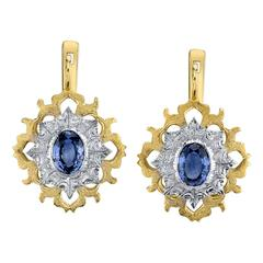 Blue Sapphire two color gold Earrings