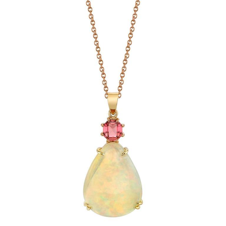 Opal and Pink Tourmaline Pendant
