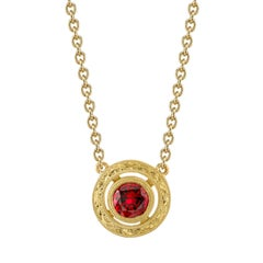 Red Spinel & 18k Yellow Gold Handmade Bezel, Engraved Round Pendant Necklace