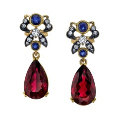 Rubellite Tourmaline, Sapphire and Diamond Earrings, 18k Yellow Gold