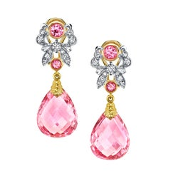 Briolette Cut Pink Tourmaline Spinel & Diamond French Clip Dangle Earrings 18k