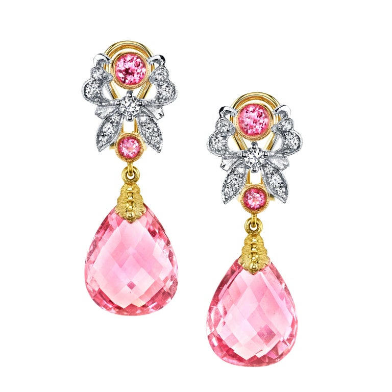 Pink Tourmaline, Spinel and Diamond Earrings For Sale
