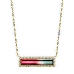 Watermelon Tourmaline and Diamond 18 Karat Yellow Gold Pendant Necklace