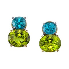 Peridot and Natural Blue Zircon Earrings 18 Karat Yellow and White Gold