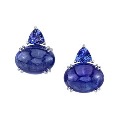 Tanzanite Earclips 18 Karat White Gold