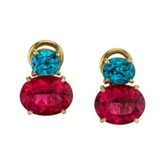 Rubellite Tourmaline and Natural Blue Zircon Earclips 18 Karat Yellow Gold