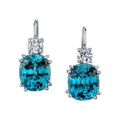 Natural Blue Zircon and Diamond Dangle Earrings 18 Karat White Gold