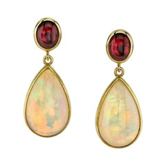 Opal and Tourmaline Dangle Earrings 18 Karat Yellow Gold