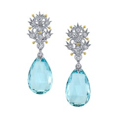 Aquamarine and Diamond Dangle Earrings 18 Karat White Gold