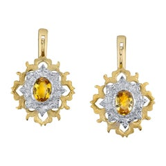 Yellow Sapphire Dangle Earrings 18 Karat White and Yellow Gold
