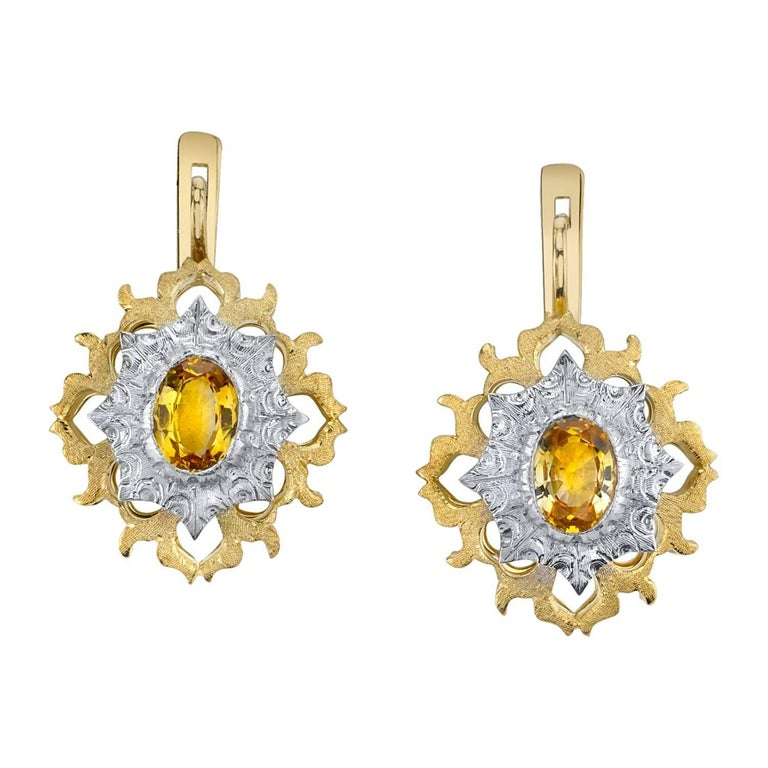 Yellow Sapphire Dangle Earrings 18 Karat White and Yellow Gold