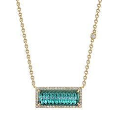 Indicolite Tourmaline and Diamond Necklace 18 Karat Yellow Gold