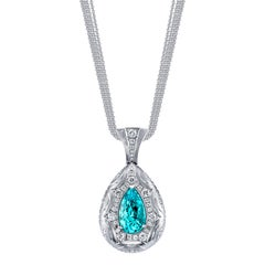 GIA Certified 5.20 Carat Paraiba Tourmaline 18 Karat White Gold Pendant Necklace