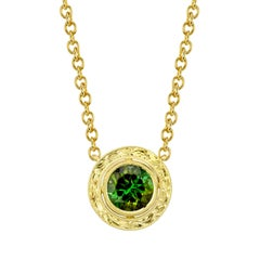2.45 ct. Green Tourmaline 18k Yellow Gold Bezel Engraved Round Pendant w/ Chain