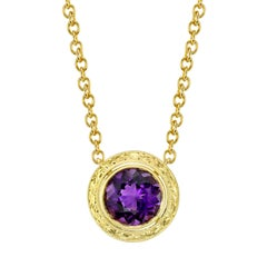 3.56 Carat Amethyst Yellow Gold Pendant Necklace