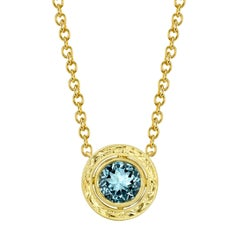 1.54 Carat Aquamarine 18 Karat Yellow Gold Pendant Necklace