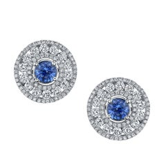 1.45 Carat Blue Sapphire and White Diamond 18 Karat White Gold Earrings Studs
