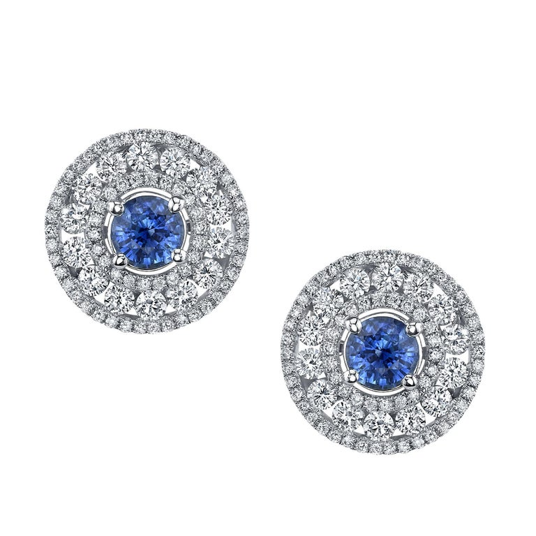 1 45 Carat Blue Shire And White Diamond 18 Karat Gold Earrings Studs For