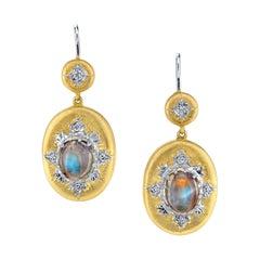 Oval Moonstone Diamond Hand Engraved Gold Earrings