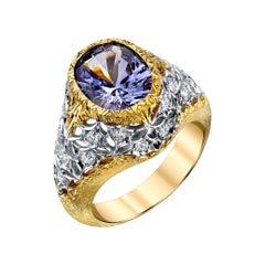 4.9 Oval Spinel and Round White Diamonds 18 Karat White Yellow Gold Ring