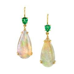 Opal and Tsavorite Garnet Earrings in 18 Karat Yellow Gold