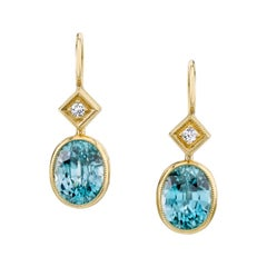 6.68 Carat Blue Zircon with 0.08 Carat Diamonds 18 Karat Yellow Gold Earrings