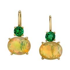 3.13 Carat Opal with 0.75 Carat Tsavorite 18 Karat Yellow Gold Earrings