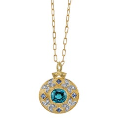 8.09 Carat Zircon, 0.24 Carats Diamonds & Sapphire 18 Karat Yellow Gold Necklace