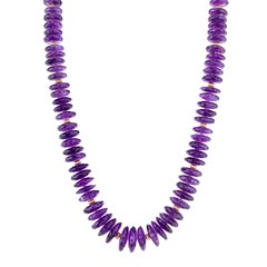 618 Carat Facetted Amethyst Rondelles 14 Karat Yellow Gold Necklace