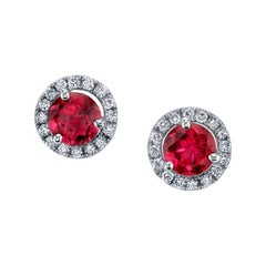 Pink Tourmaline and 0.37 Carat Diamonds 18 Karat White Gold Earrings
