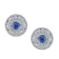 Cornflower Blue Sapphire and Diamond Earrings 18 Karat White Gold