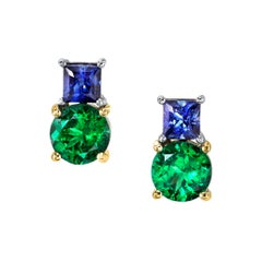 Tsavorite Garnet and Sapphire Earrings 18 Karat Yellow and White Gold