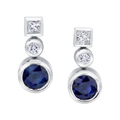 Royal Blue Sapphire and Diamond Drop Earrings 18 Karat White Gold