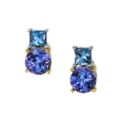 Tanzanite and Aquamarine Earrings 18 Karat White Gold